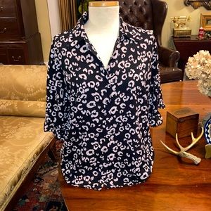 Three Eighty Two Leopard Short Sleeve Button Up